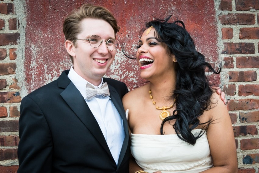 Bride and groom at Liberty Warehouse wedding in Red Hook, Brooklyn