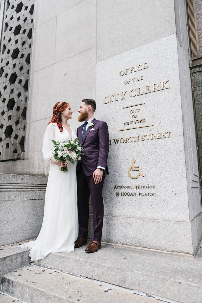 NYC City Hall wedding at Manhattan Marriage Bureau in New York. Photographed by NYC City Hall wedding photographer Everly Studios