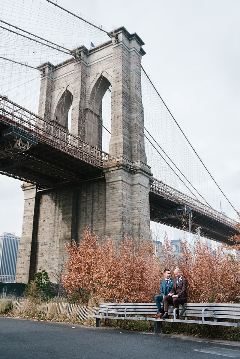 New York City Hall Wedding and Brooklyn Bridge Park elopement. Photographed by NYC City Hall wedding photographer Everly Studios