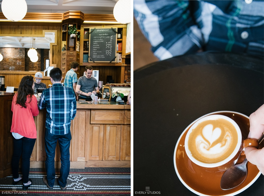 Stump town coffee shop engagement photos in New York