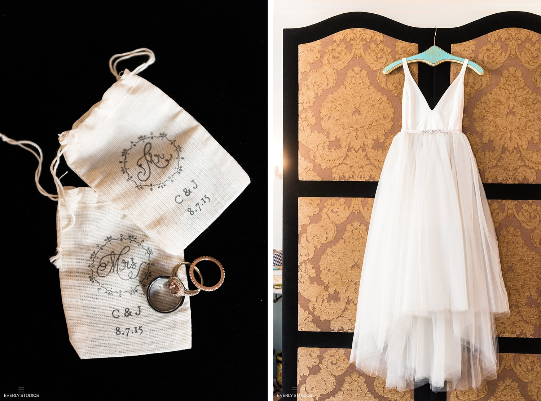 Vintage wedding dress and wedding ring
