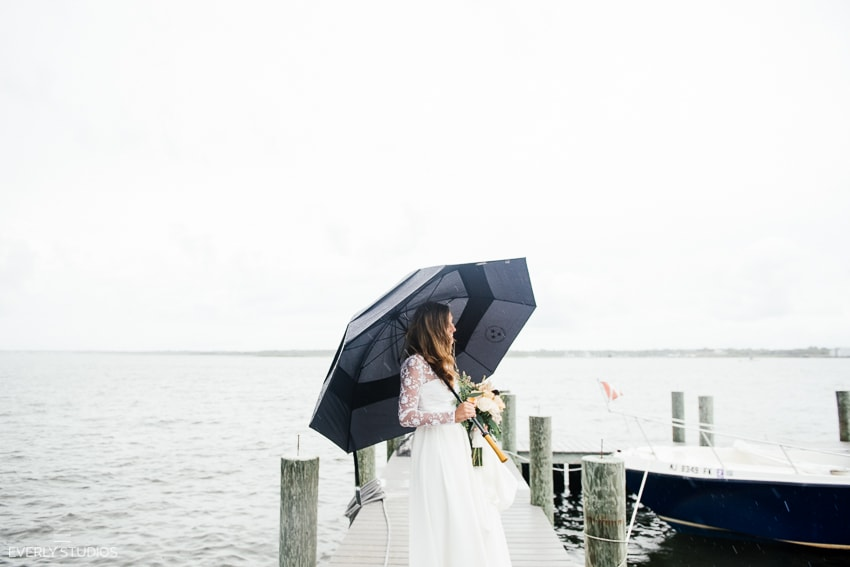 Beach wedding at the Mantoloking Yacht Club in New Jersey. Photos by NYC/NJ wedding photographer Everly Studios, www.everlystudios.com