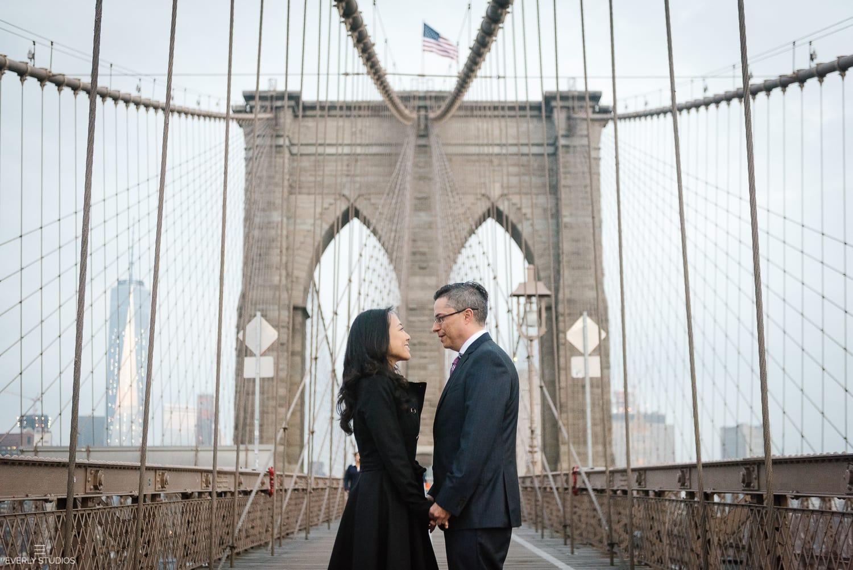 Brooklyn Bridge engagement photos. Photos by New York wedding photographer Everly Studios, www.everlystudios.com