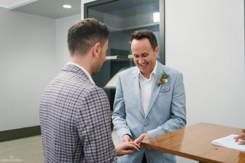 Same sex City Hall wedding in New York. Photos by Brooklyn wedding photographer Everly Studios, www.everlystudios.com