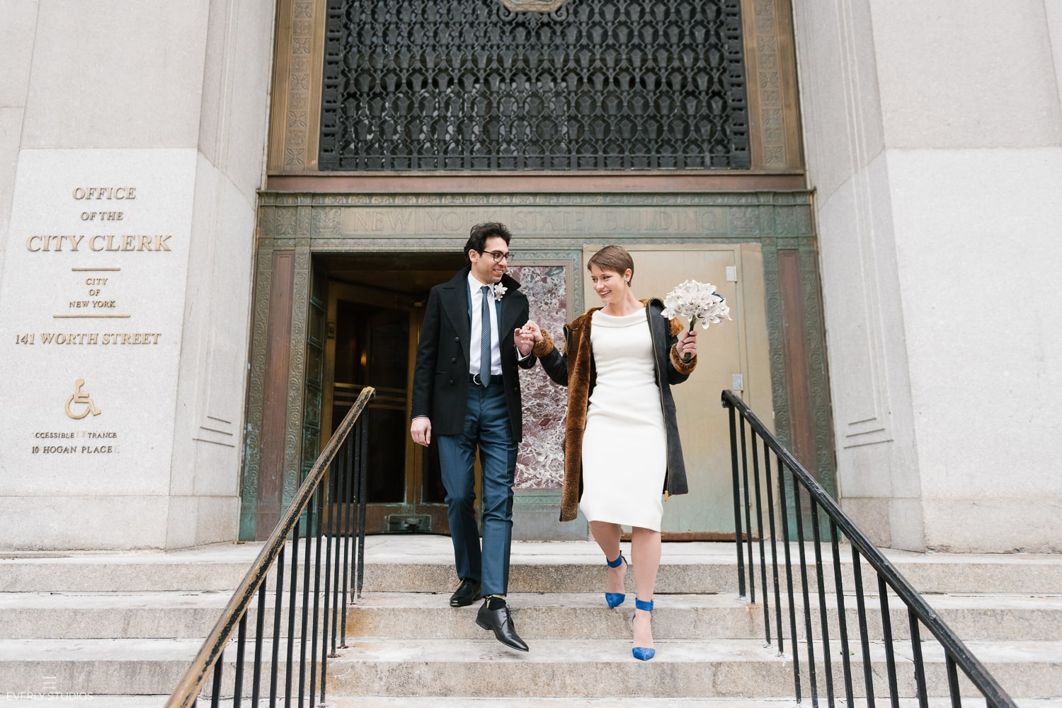 New York City Hall elopement wedding. Photos by New York wedding photographer Everly Studios, www.everlystudios.com