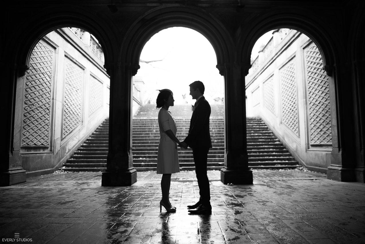New York Central Park elopement photos at Bow Bridge, Bethesda Terrace and The Mall. Photos by New York wedding photographer Everly Studios, www.everlystudios.com