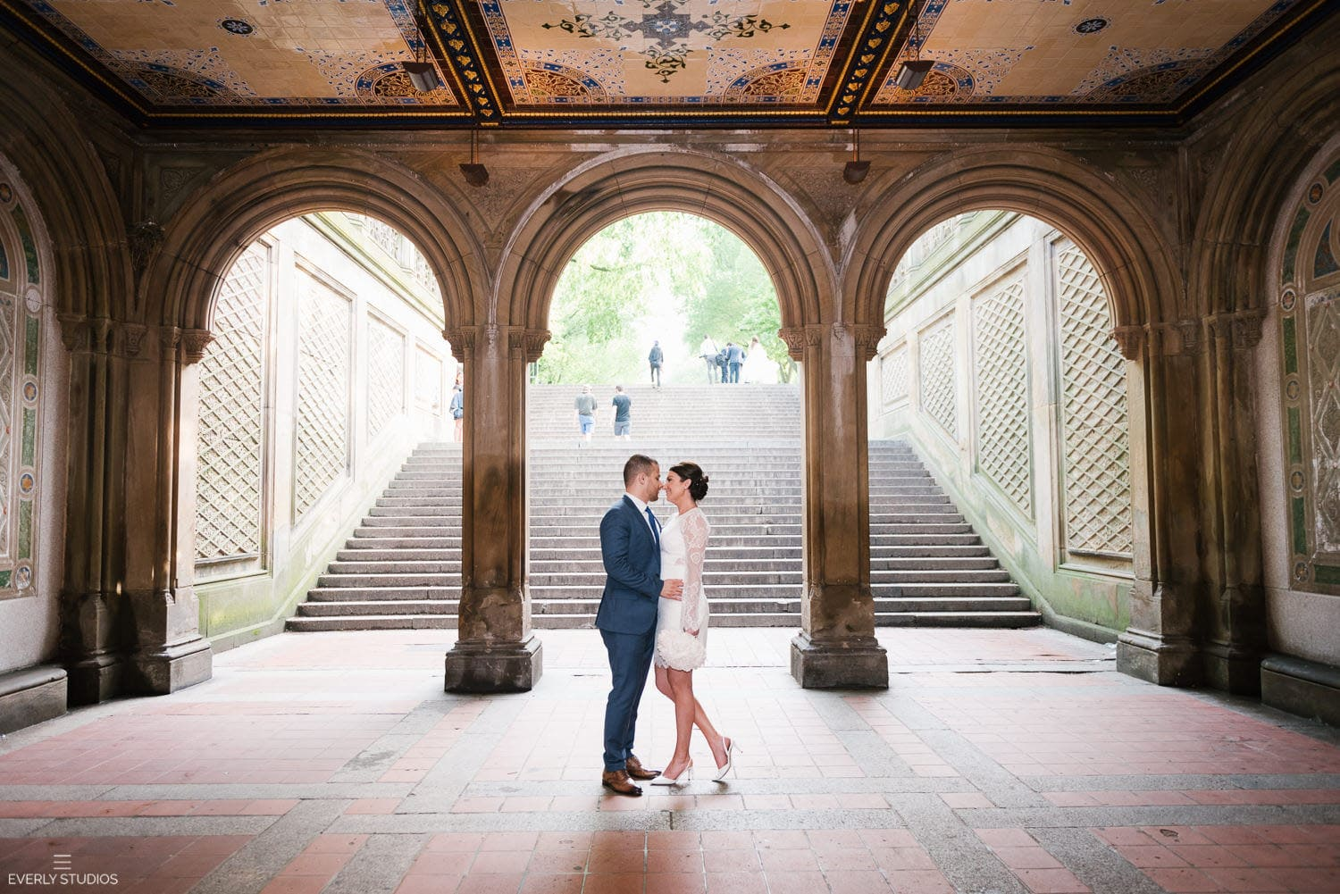 Central Park wedding at Bethesda Terrace. Iconic New York wedding locations with a view. Photo by Brooklyn wedding photographer Everly Studios, www.everlystudios.com