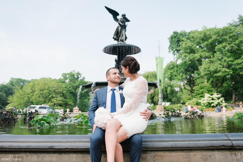 Central Park wedding photos at Bethesda Terrace. Photos by New York wedding photographer Everly Studios, www.everlystudios.com