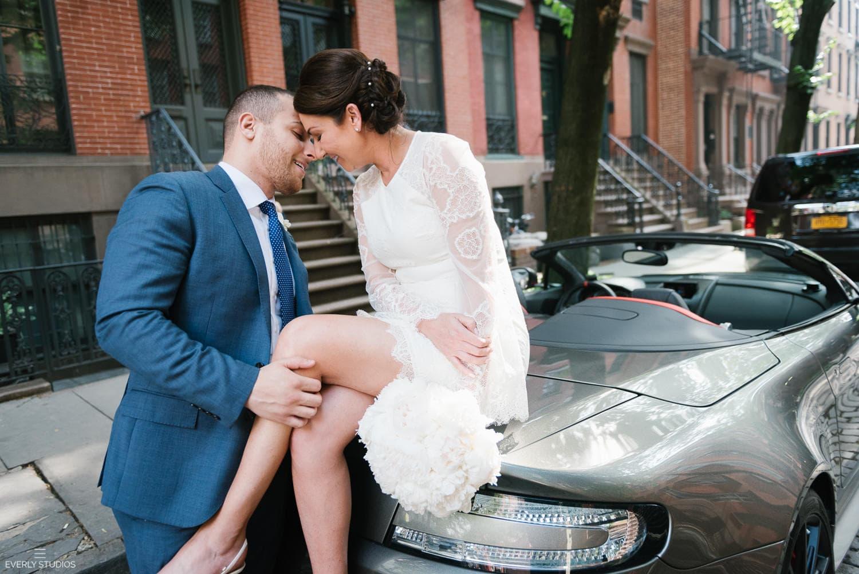 Convertible wedding photos in an Aston Martin. Photos by New York wedding photographer Everly Studios, www.everlystudios.com