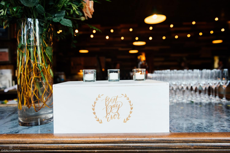 Brooklyn Winery wedding in Williamsburg, Brooklyn. Romantic rustic chic wedding venue in Brooklyn with reclaimed wood, vertical gardens and lots of natural light. Photos by Brooklyn wedding photographer Everly Studios, www.everlystudios.com