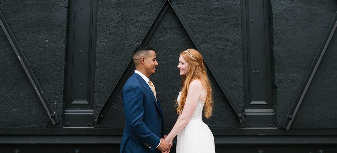 Brooklyn Winery Wedding. Bride and groom portraits around Williamsburg, Brooklyn. Photo by Brooklyn wedding photographer Everly Studios, www.everlystudios.com