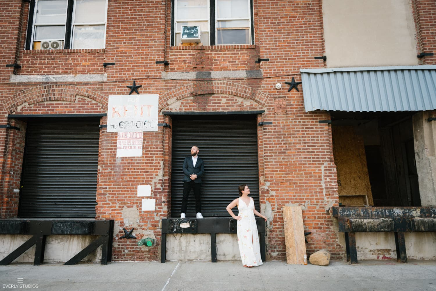 Industrial Red Hook wedding photos in Brooklyn. Photos by Brooklyn wedding photographer Everly Studios, www.everlystudios.com