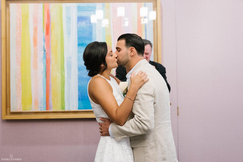 Small NYC City Hall wedding. Photos by NYC City Hall wedding photographer Everly Studios, www.everlystudios.com