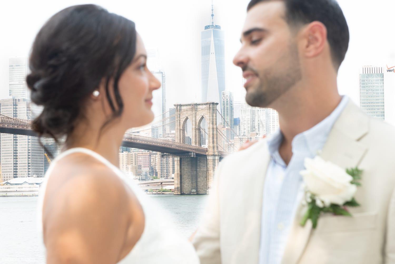 Brooklyn Bridge Park portraits after NYC City Hall wedding. Photos by NYC City Hall wedding photographer Everly Studios, www.everlystudios.com