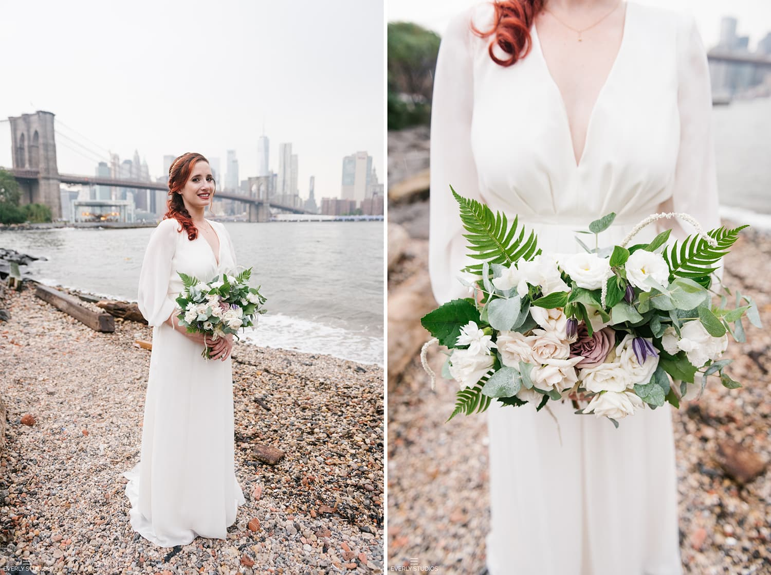 Bride in bohemian wedding dress. Brooklyn Bridge Park elopement, NYC. Photos by NYC elopement photographer Everly Studios, www.everlystudios.com