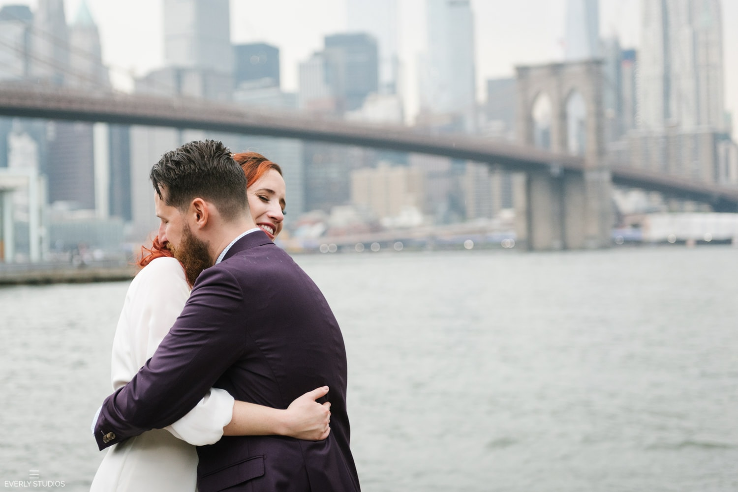 Brooklyn Bridge Park elopement, NYC. Photos by NYC elopement photographer Everly Studios, www.everlystudios.com