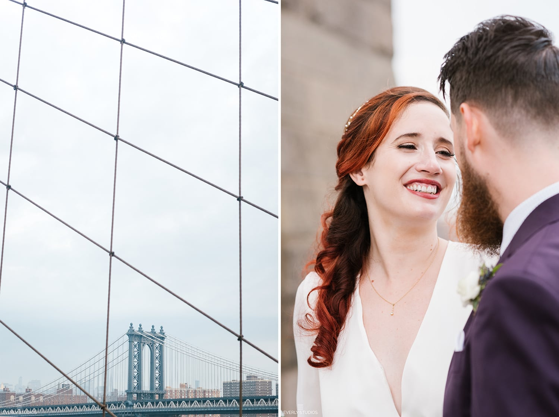 Brooklyn Bridge wedding photos, NYC. Photos by NYC elopement photographer Everly Studios, www.everlystudios.com