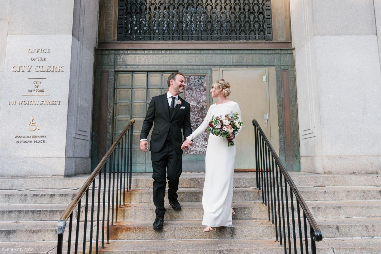 NYC City Hall wedding photos. Photos by NYC City Hall wedding photographer Everly Studios, www.everlystudios.com