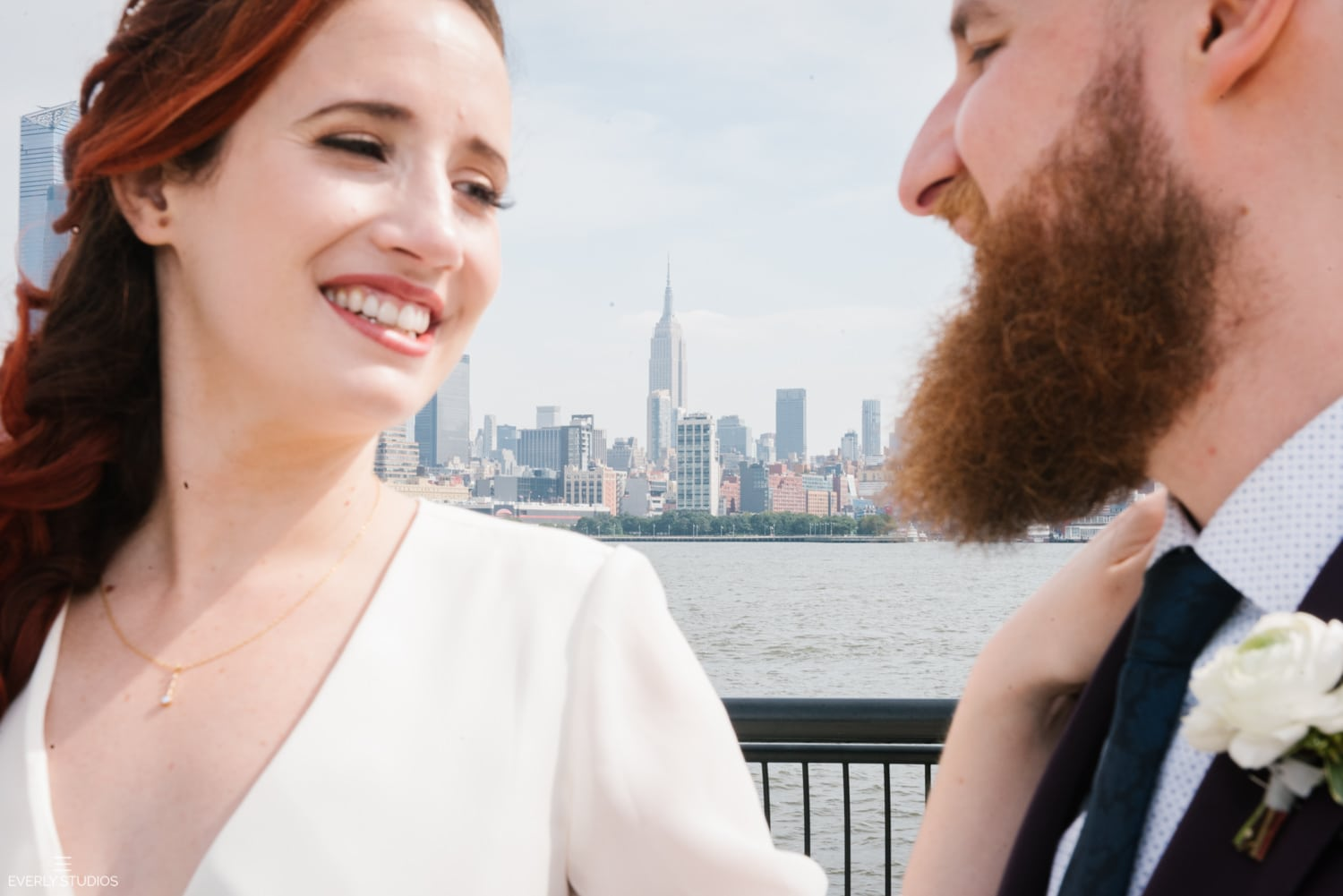First look at Pier 13 Hoboken wedding. Photos by NYC elopement photographer Everly Studios, www.everlystudios.com