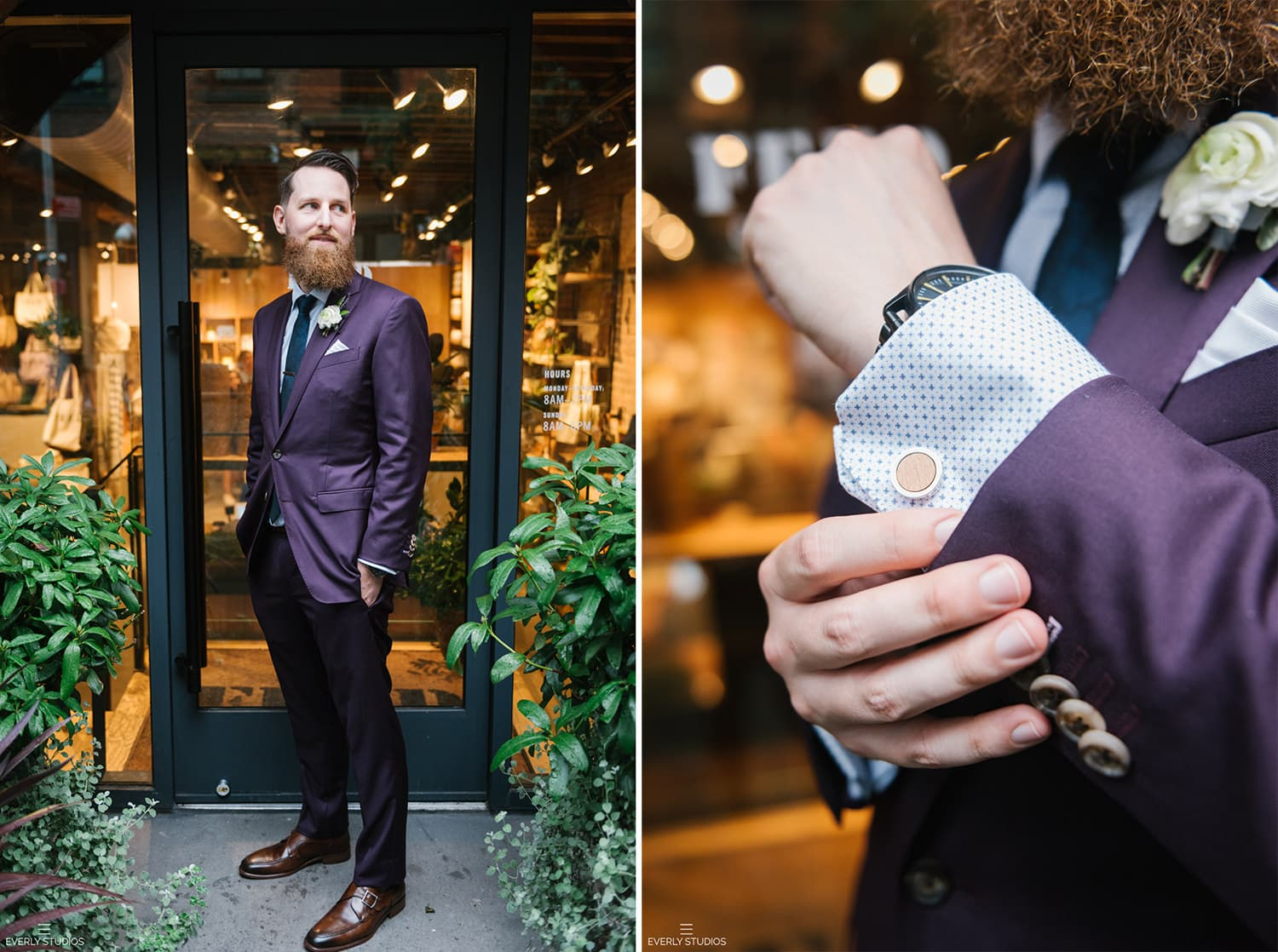 Groom in dark purple wedding suit. Brooklyn, NYC. Photos by NYC elopement photographer Everly Studios, www.everlystudios.com.