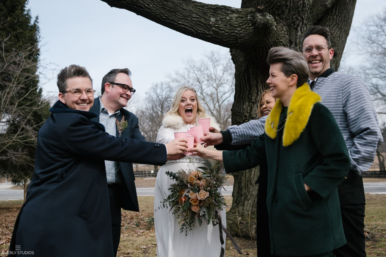 outdoor winter wedding in Brooklyn, NYC