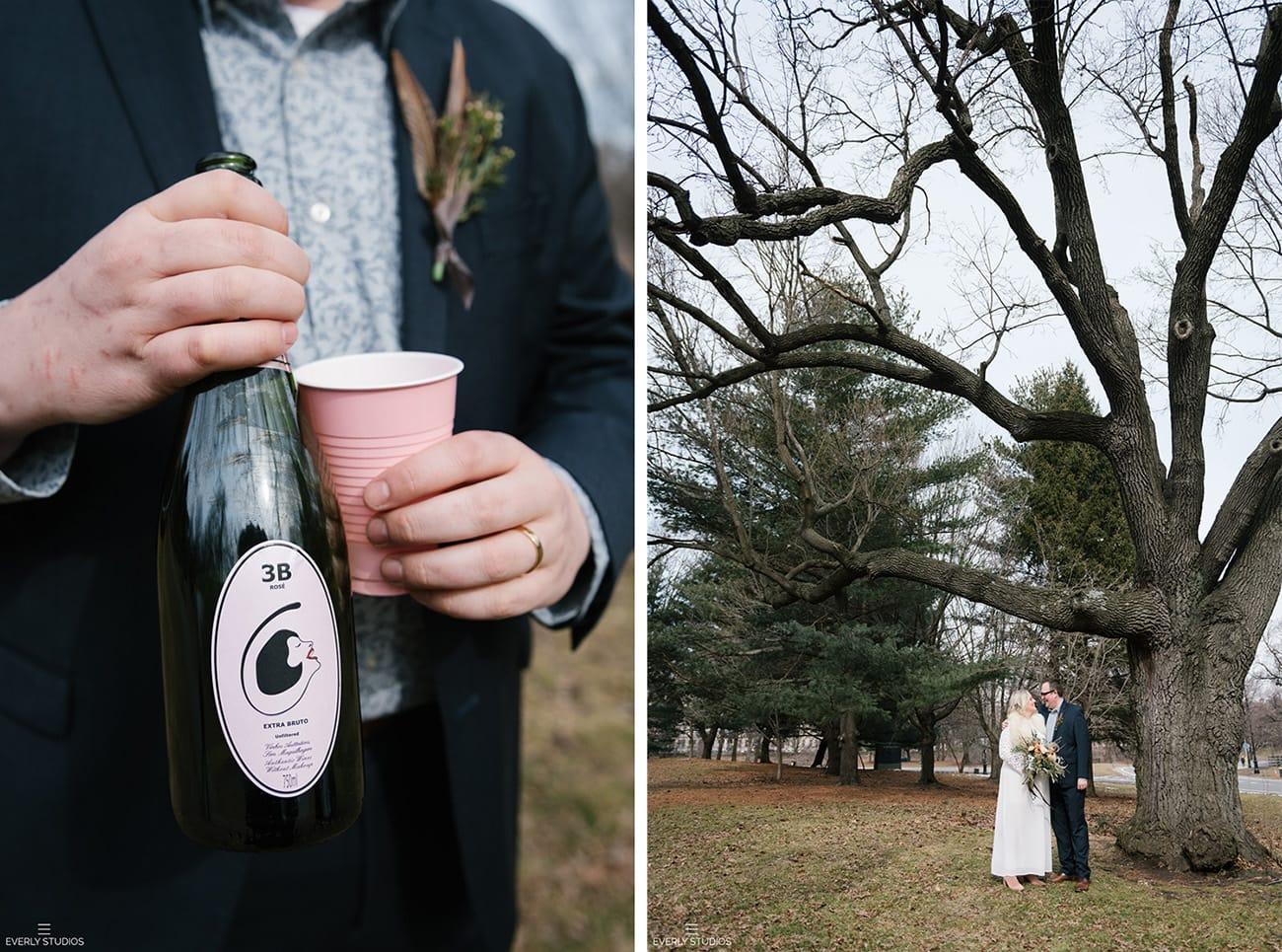 outdoor winter wedding in Brooklyn, NYC