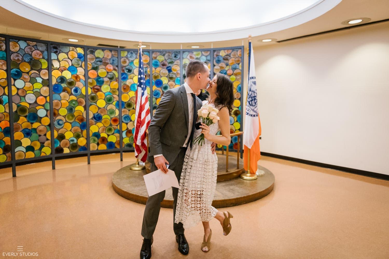 Brooklyn City Hall wedding in Brooklyn, New York.. Photos by Brooklyn wedding photographer Everly Studios, www.everlystudios.com