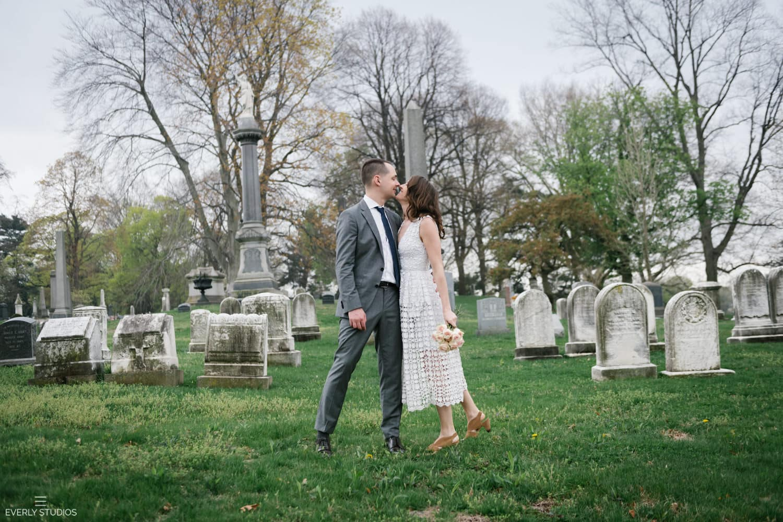 Greewood Cemetery wedding portraits in Brooklyn, New York, during cherry blossom season. Photos by Brooklyn wedding photographer Everly Studios, www.everlystudios.com