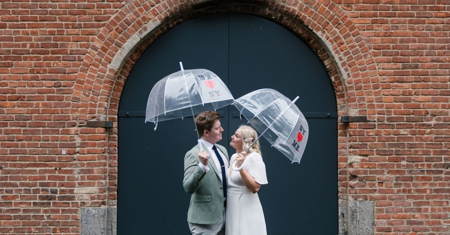 rainy day elopement in NYC