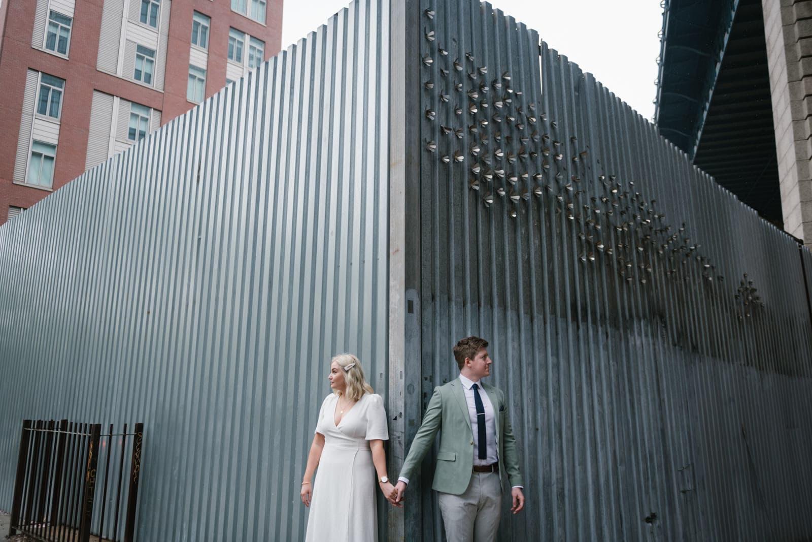 Brooklyn Bridge Park elopement and rainy day wedding in NYC. Photos by Brooklyn wedding photographer Everly Studios, www.everlystudios.com