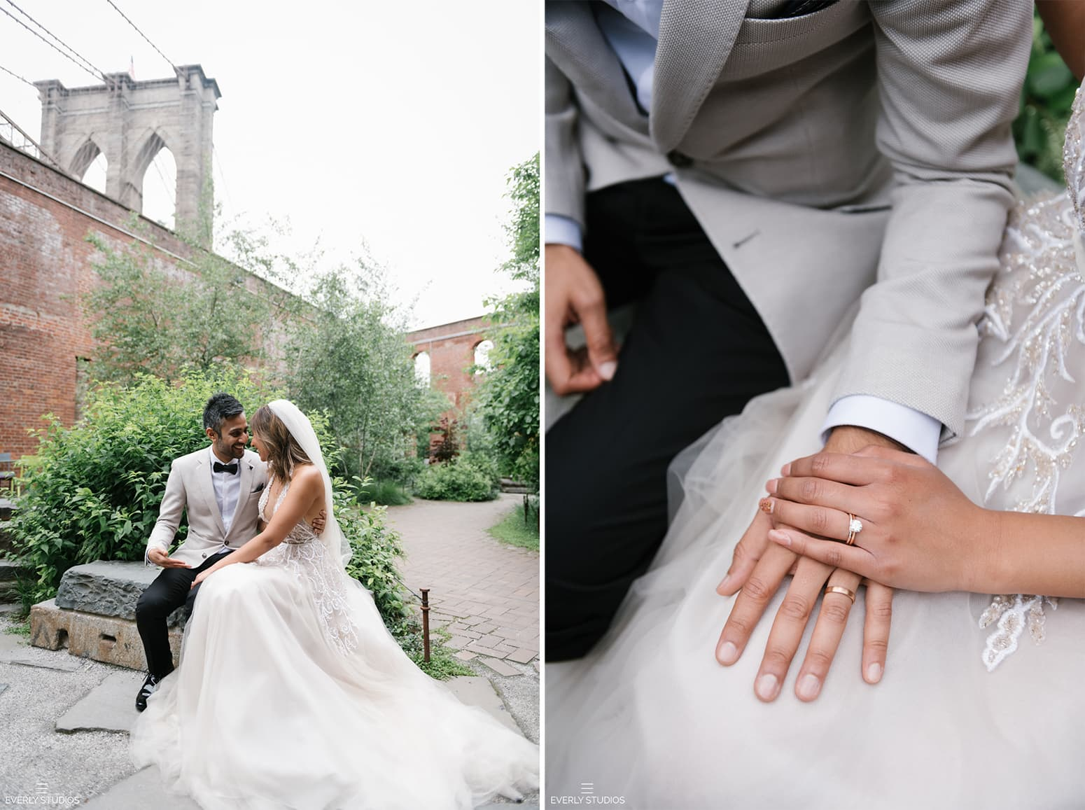 Brooklyn Bridge Park wedding photos. Photo by NYC wedding photographer Everly Studios, www.everlystudios.com