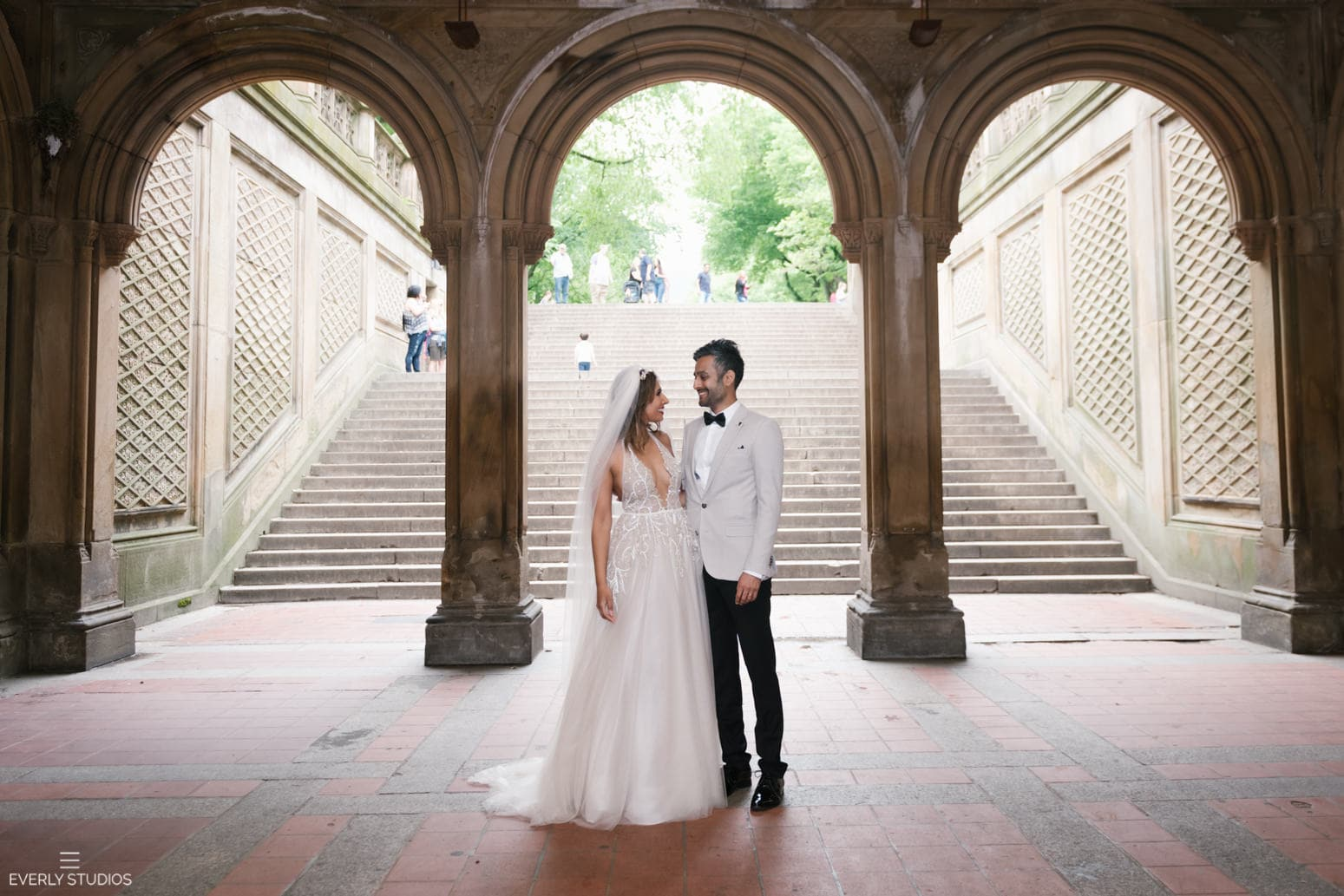 Small Central Park wedding at Bethesda Terrace and Bethesda Fountain. Photo by NYC wedding photographer Everly Studios, www.everlystudios.com