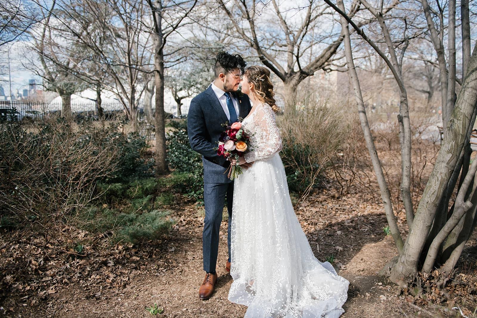 Wedding photos in McCarran Park in Williamsburg, Brooklyn. Photos by Brooklyn wedding photographer Everly Studios, www.everlystudios.com