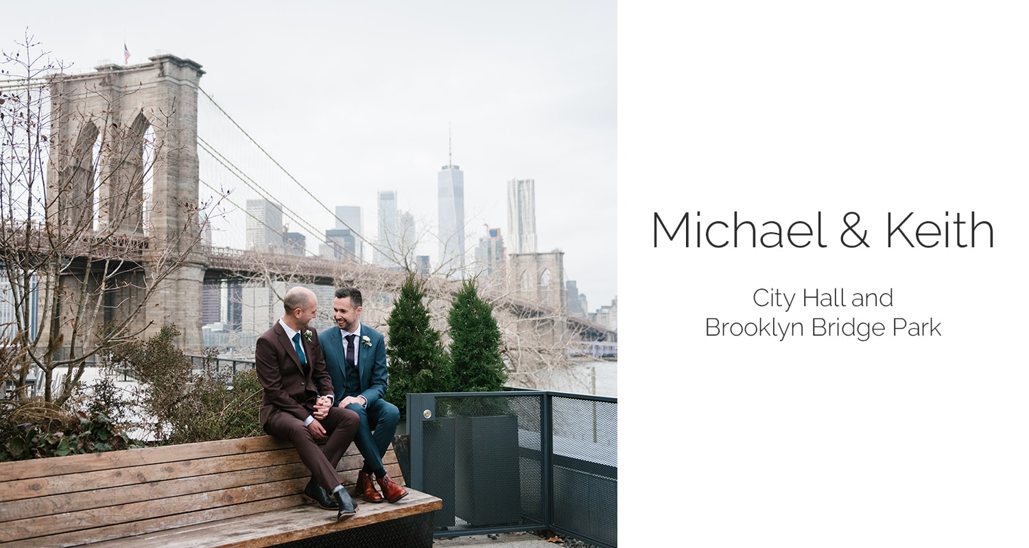 NYC City Hall wedding and Brooklyn Bridge Park elopement