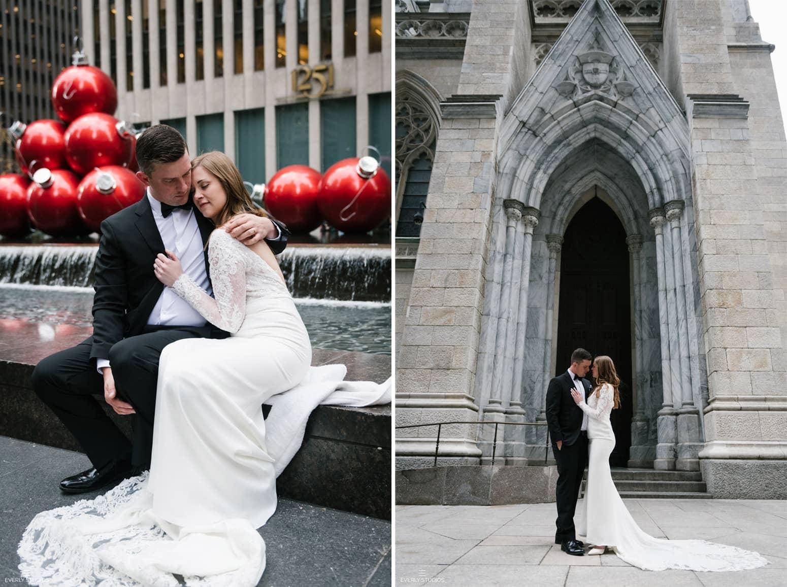 Gapstow Bridge wedding in Central Park NYC. Winter Central Park elopement at Gapstow Bridge in New York. Photo by NYC elopement photographer Everly Studios, www.everlystudios.com