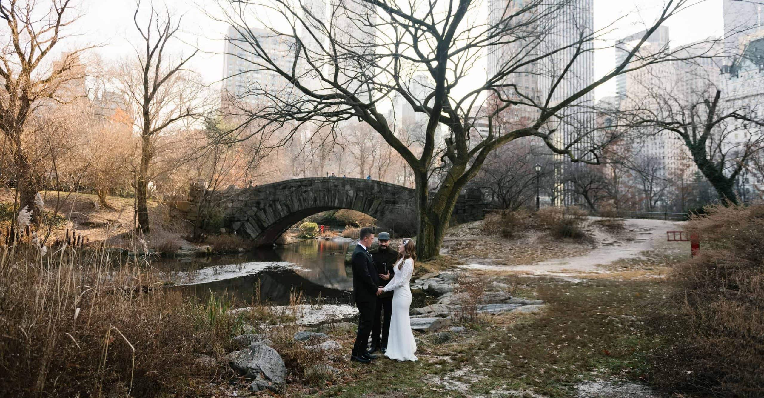 Gapstow Bridge wedding in NYC during winter