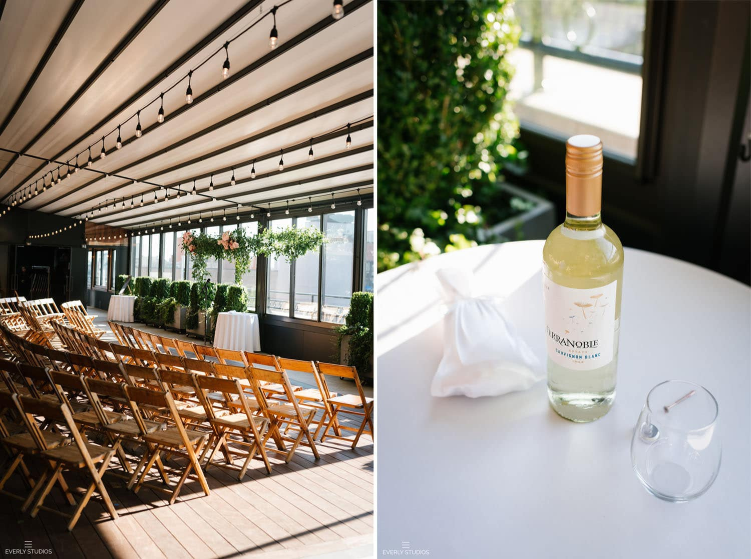 Box House Hotel rooftop wedding. Photo by NYC wedding photographer Everly Studios