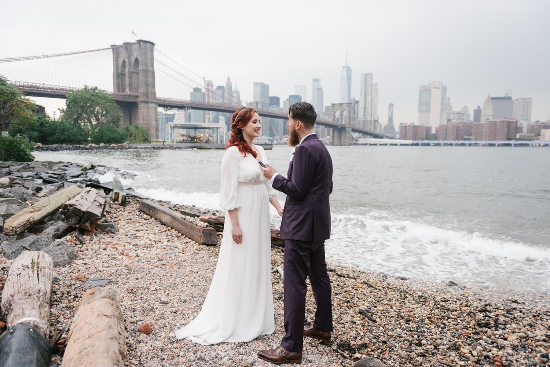 NYC elopement locations: brooklyn bridge park