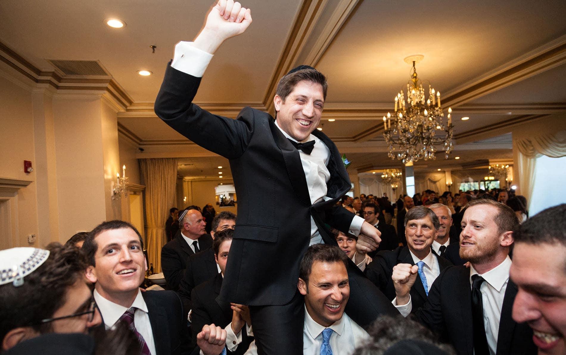 Jewish hora in NYC wedding