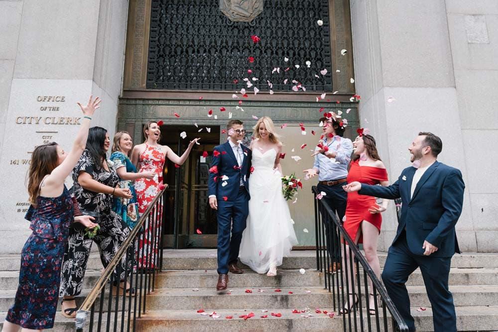 NYC City Hall wedding confetti exit