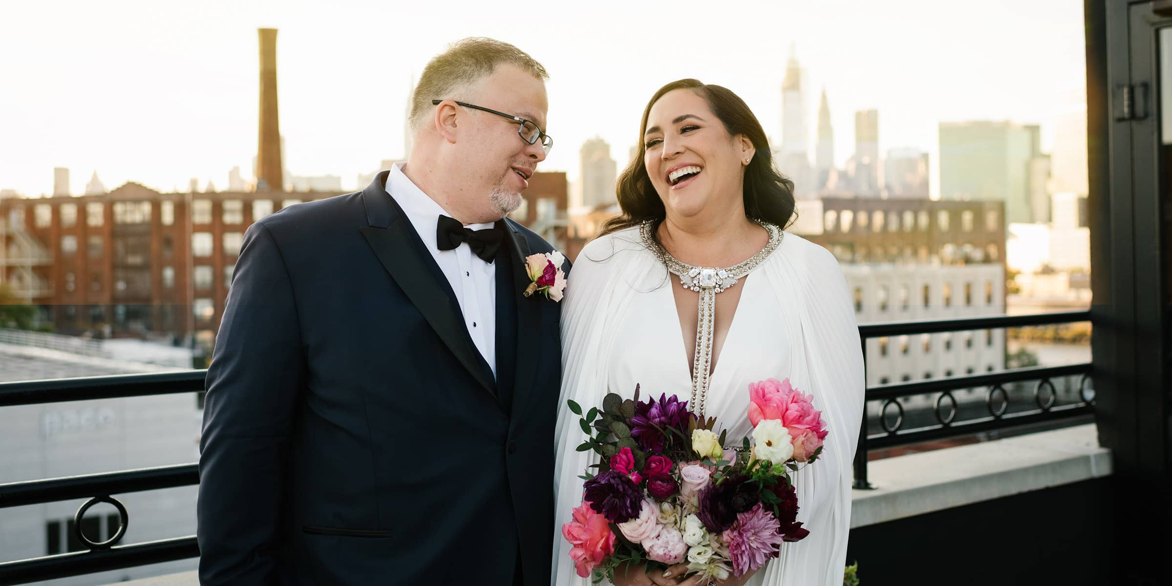Wedding photography in New York - NYC rooftop wedding at sunset