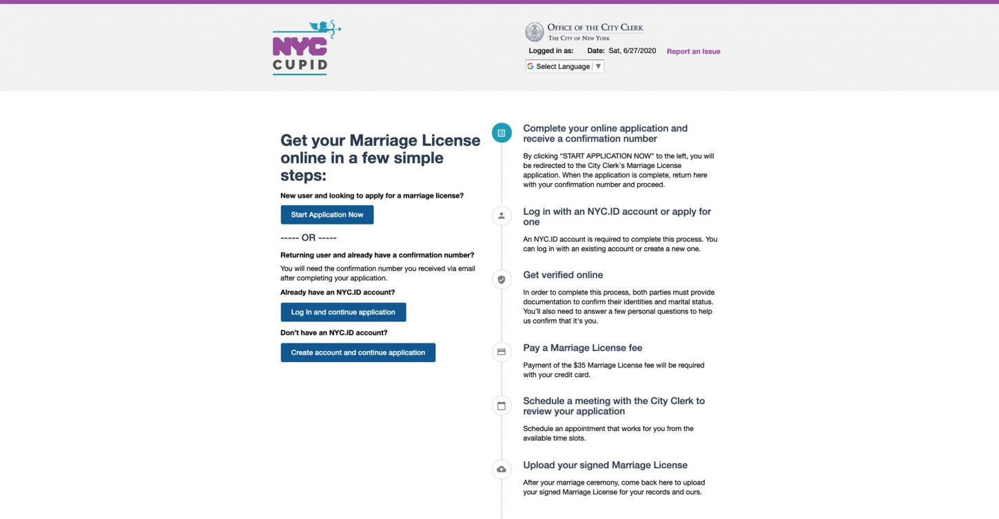 How to get a marriage license during Covid-19 with Project Cupid in New York