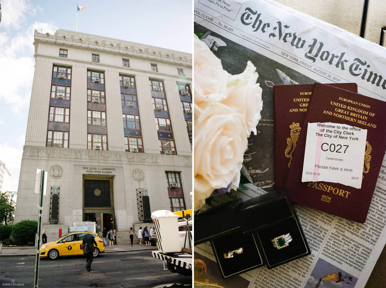 Eloping to NYC from UK at New York City Hall and Brooklyn Bridge Park