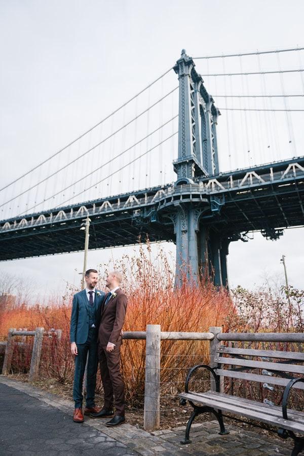 gay NYC elopement at Brooklyn Bridge Park