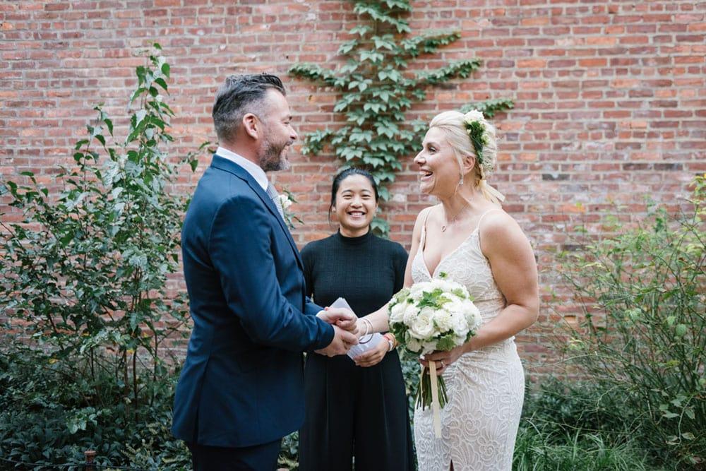 NYC wedding officiant in Brooklyn Bridge Park
