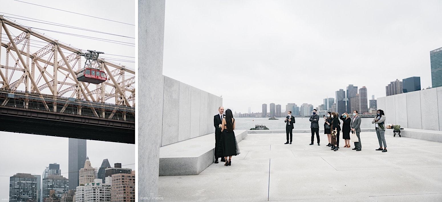 Roosevelt Island wedding at Four Freedoms Park. Photos by NYC wedding photographer Everly Studios.