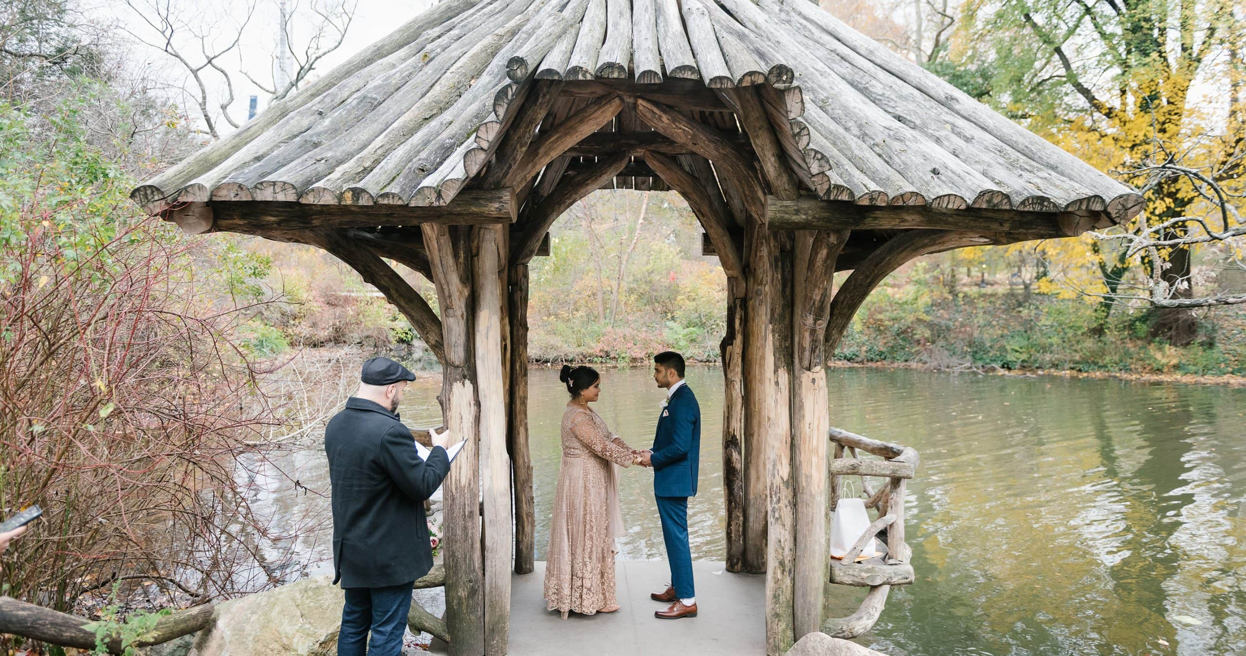 Wagner Cove wedding in Central Park in the fall